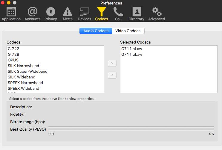 Використовуються аудіо кодеки для сервісу Zoom.us у Bria