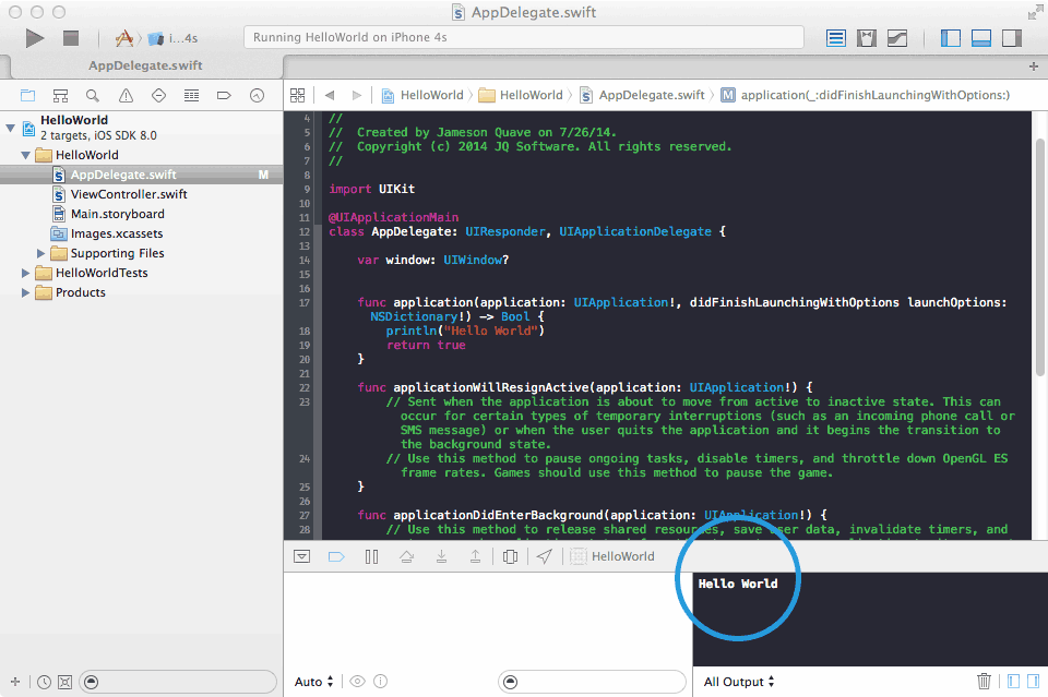Учебник Swift — разработка приложения для iOS8 [Часть 1, Hello World!] / Хабр