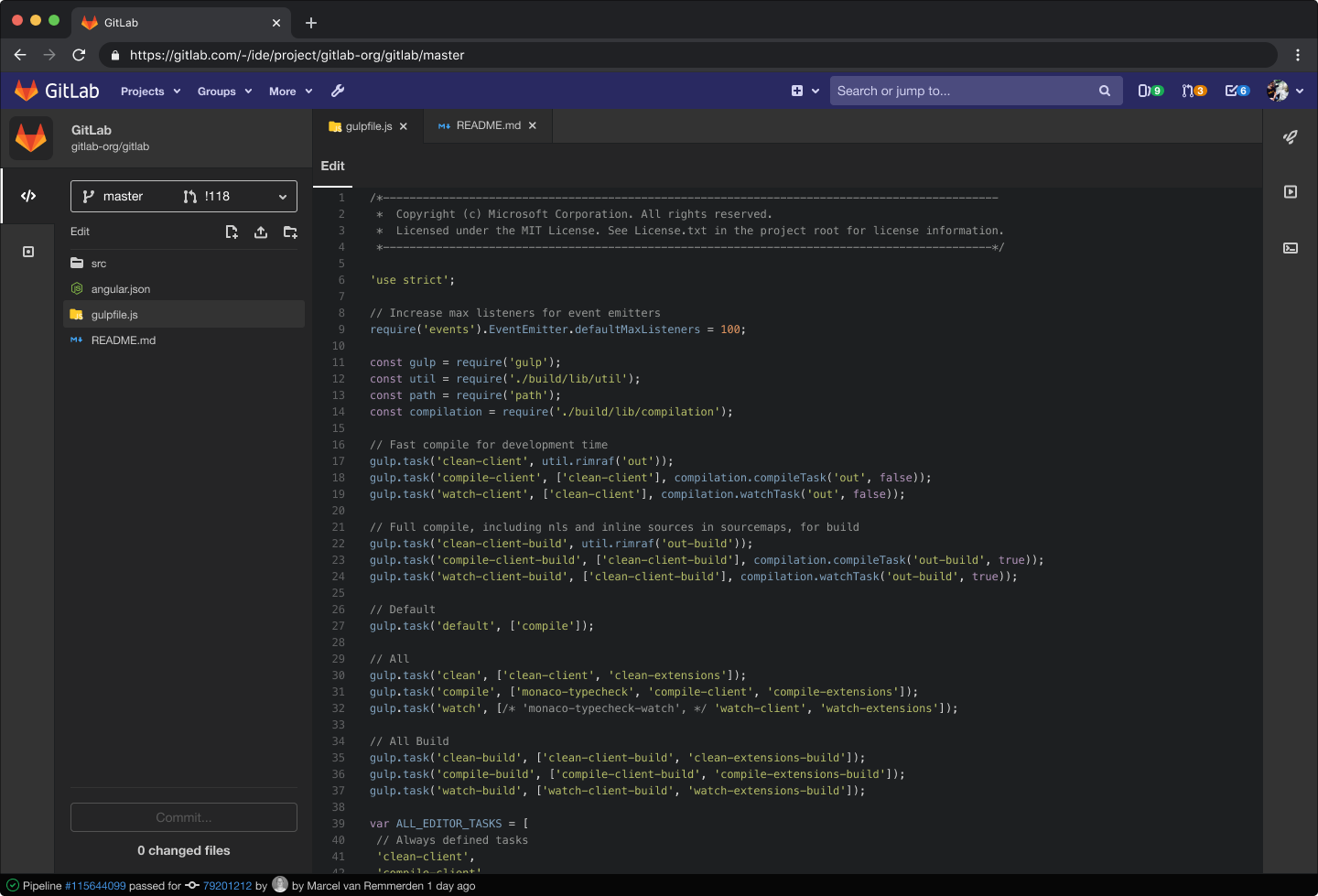 Dark Theme in the Web IDE