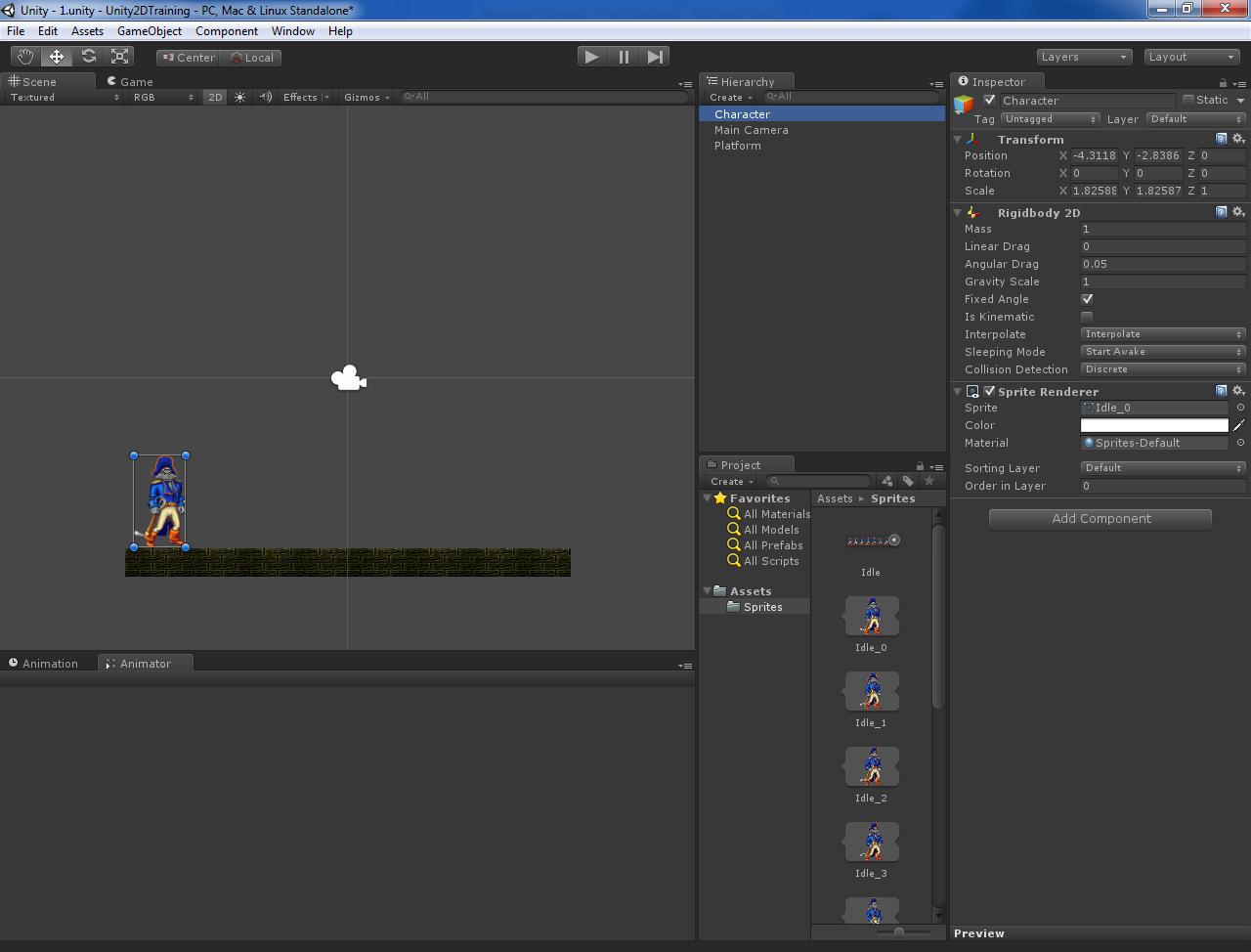 Основы создания 2D персонажа в Unity 3D 4.3. Часть 1: заготовка персонажа и анимация покоя
