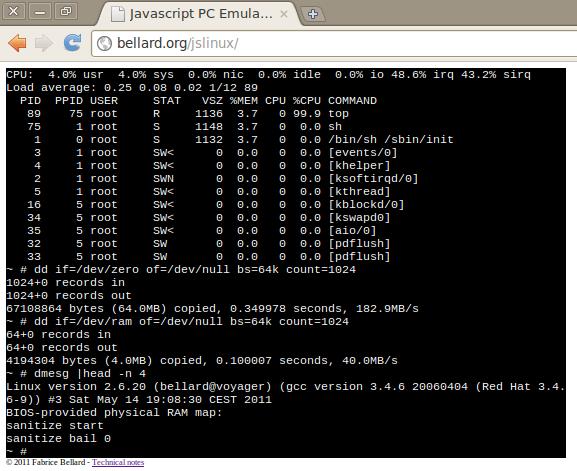 Эмулятор PC на JS с линуксом на борту