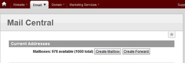 Раздел Mail Central в панели vDeck
