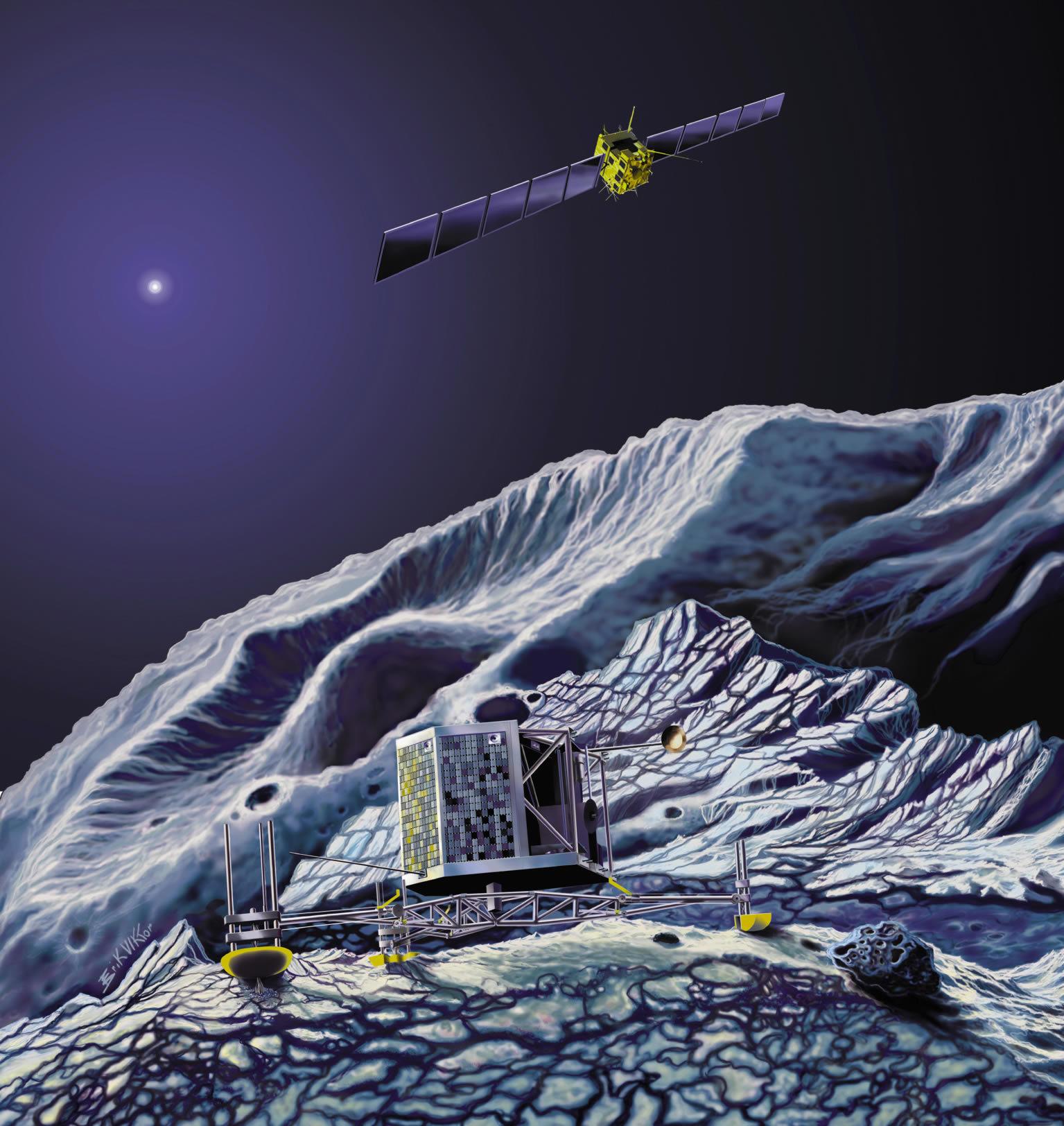 Межпланетная станция Розетта прислала наиболее четкий снимок ядра кометы Чу ...