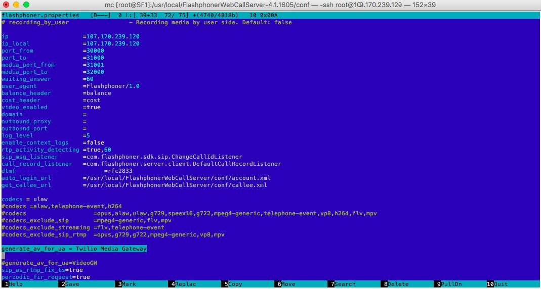 Змінні параметри в конфіги Web Call Server