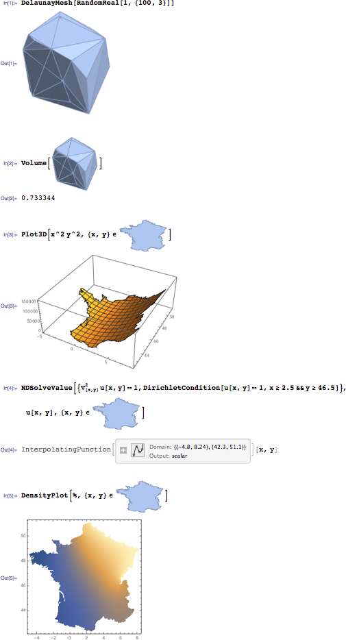 Geometry examples in Mathematica 10