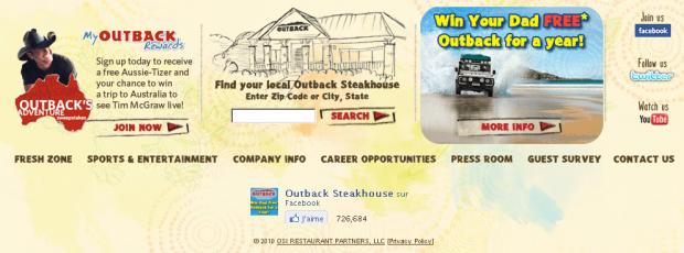 Outback Steakhouse et ses liens sociaux