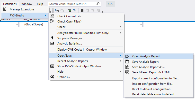 Figure 8. Opening an analysis report from the plugin's menu.