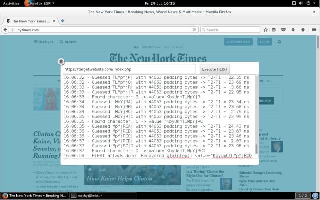 HEIST позволяет получить зашифрованную информацию в HTTPS канале в виде открытого текста