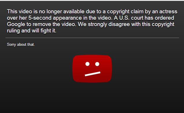 Видео запретили на YouTube из-за 5-секундного присутствия актрисы