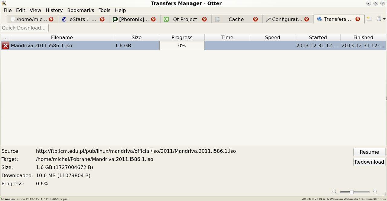 Otter Browser, список загрузок