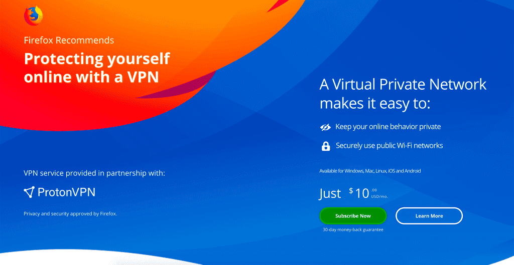 FireFox may be monetized by the built-in paid VPN plugin