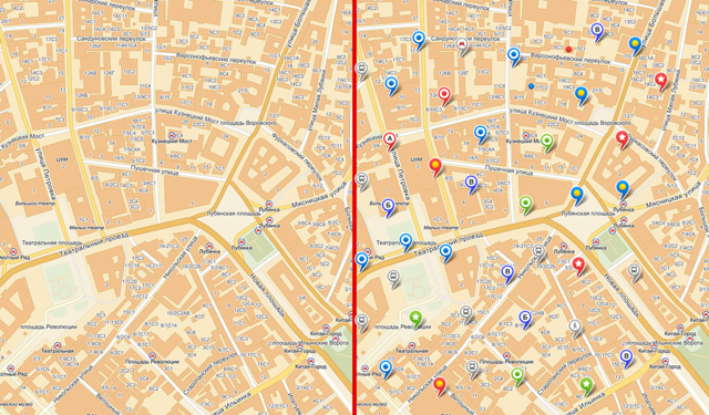 Different layers on Yandex.Maps