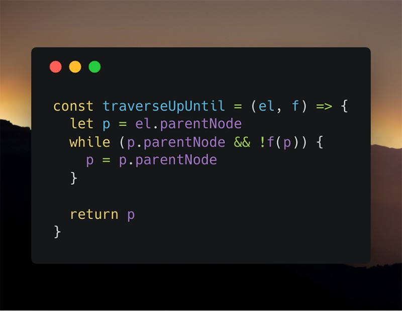 Screenshot of the bad version of the traverseUpUntil function