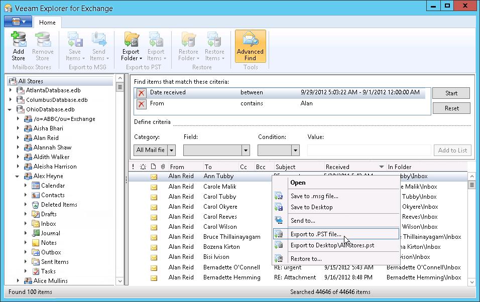 Рис. 11. Veeam Explorer for Microsoft Exchange: Восстановление объектов из резервной копии Microsoft Exchang