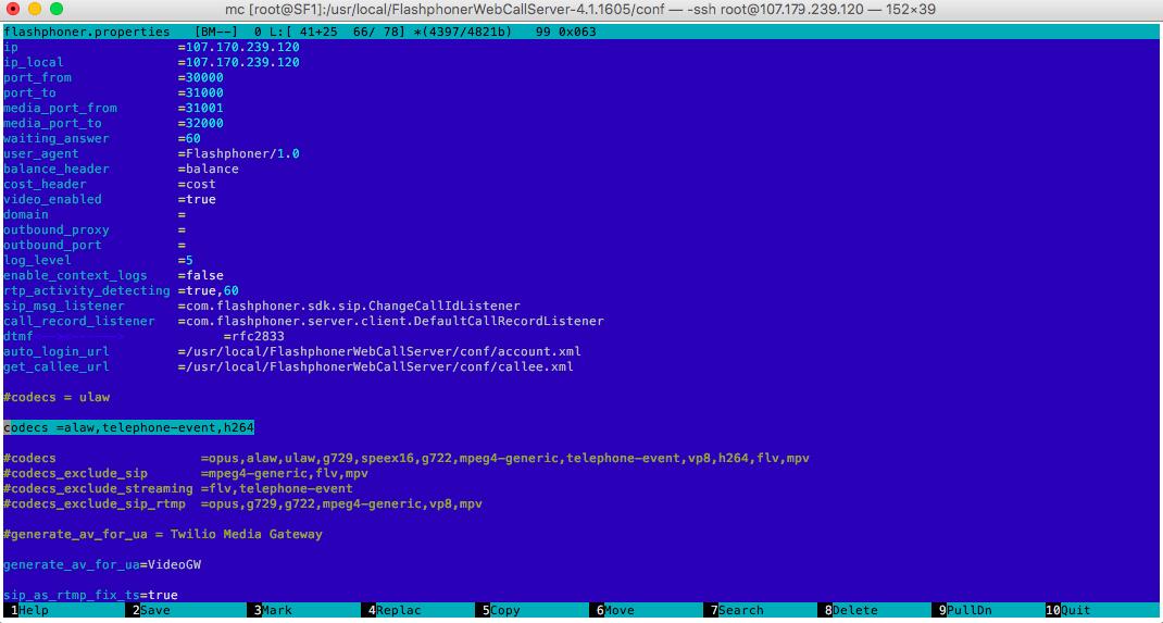 Web Call Server 4 configuration file listing