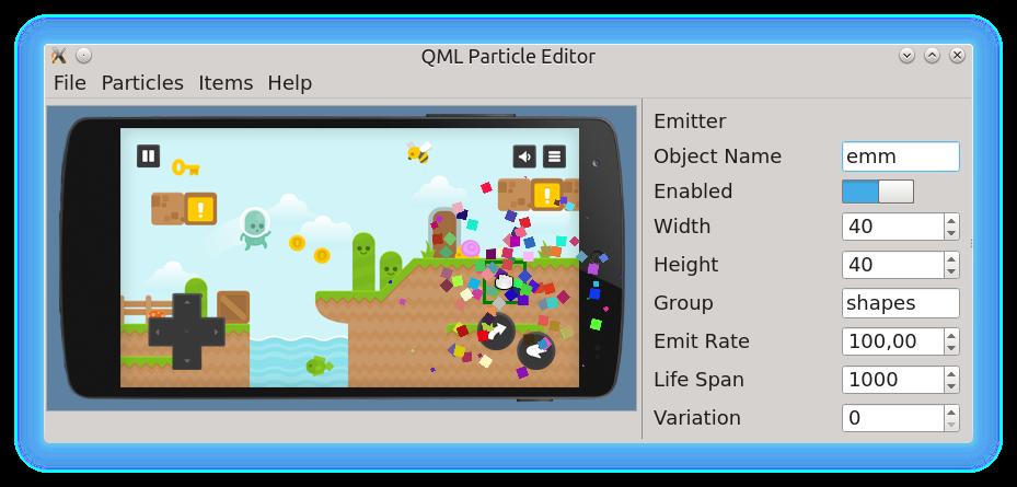 Редактор частиц QML
