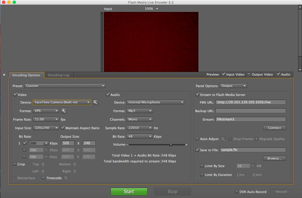 Adobe Flash Media Live Encoder window