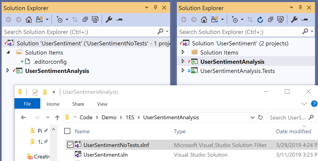 Open only a subset of projects in a solution with solution filters