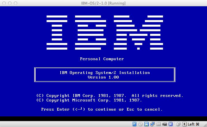 Запускаем IBM OS/2 1.0 в виртуальной машине: почему это сложно сделать