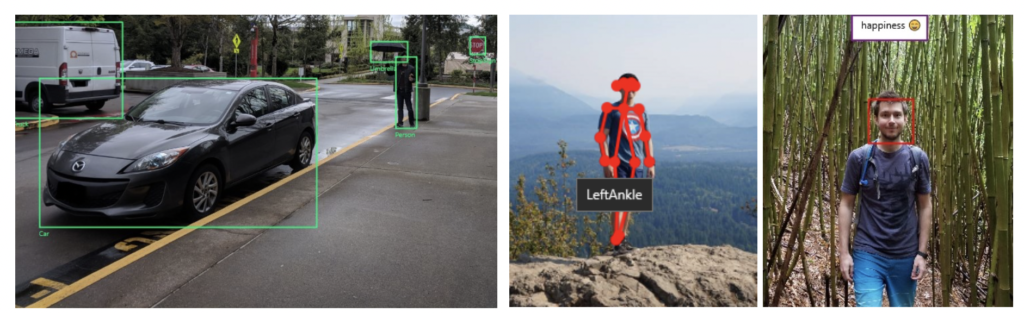 From left to right, you are seeing in action the Object Detector, Skeletal Detector, and Emotion Recognizer skills.