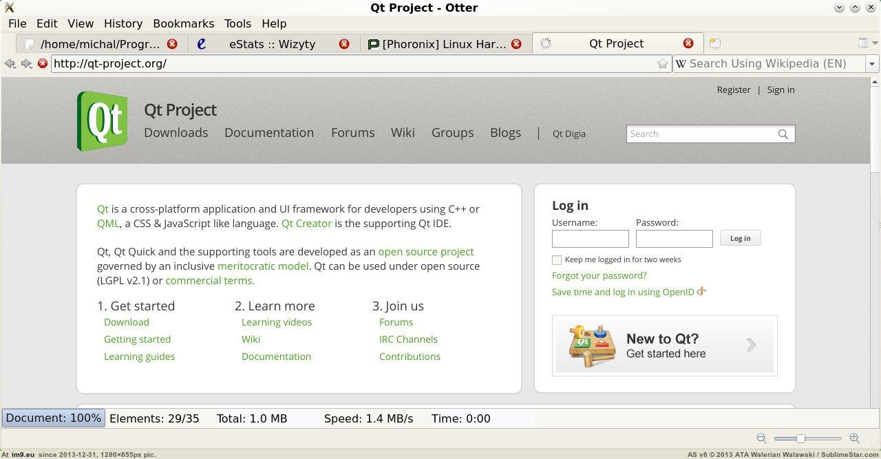 Главное окно Otter Browser