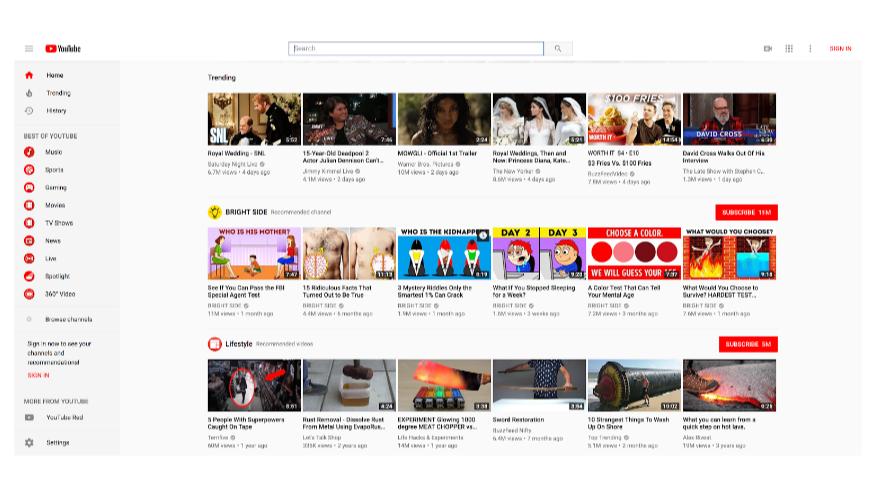 Домашняя страница YouTube