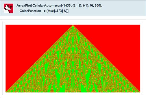 ArrayPlot[CellularAutomaton[{1635,{3,1}},{{1},0},500],ColorFunction->(Hue[#/3]&)]