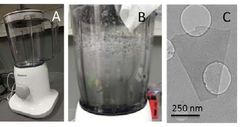 Блендер, процесс «взбивания» графена и одна из графеновых чешуек под микроскопом