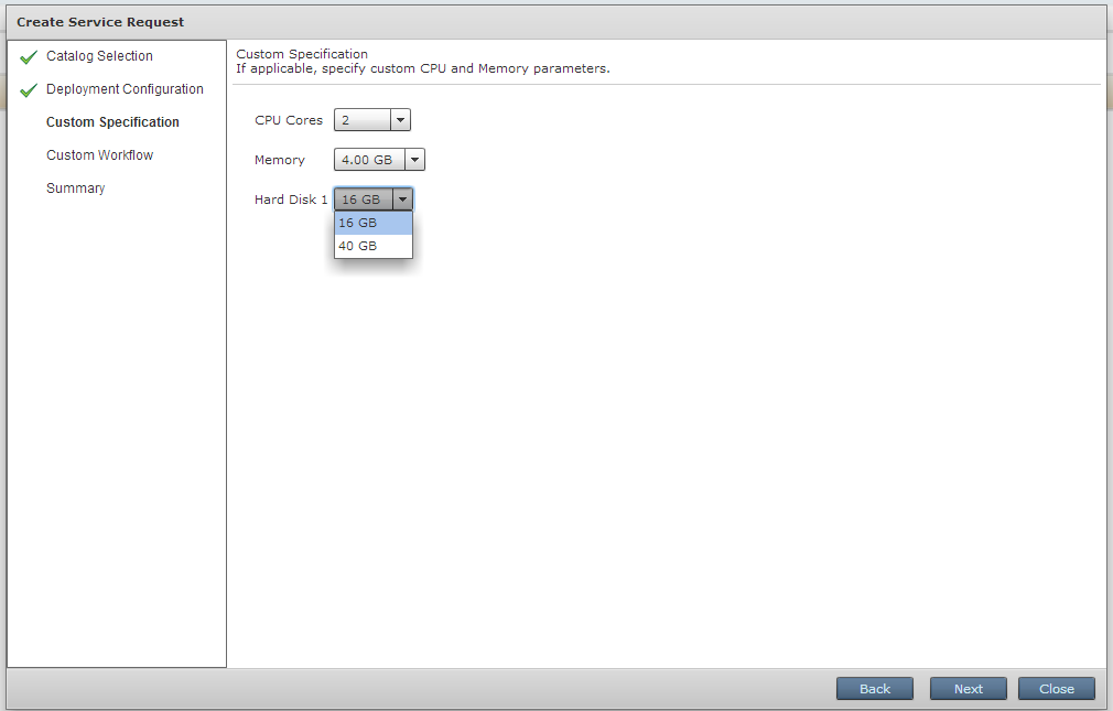 Setting the required virtual machine resources