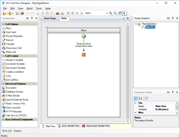 Считывание ввода пользователя (цифр) в приложении 3CX Call Flow