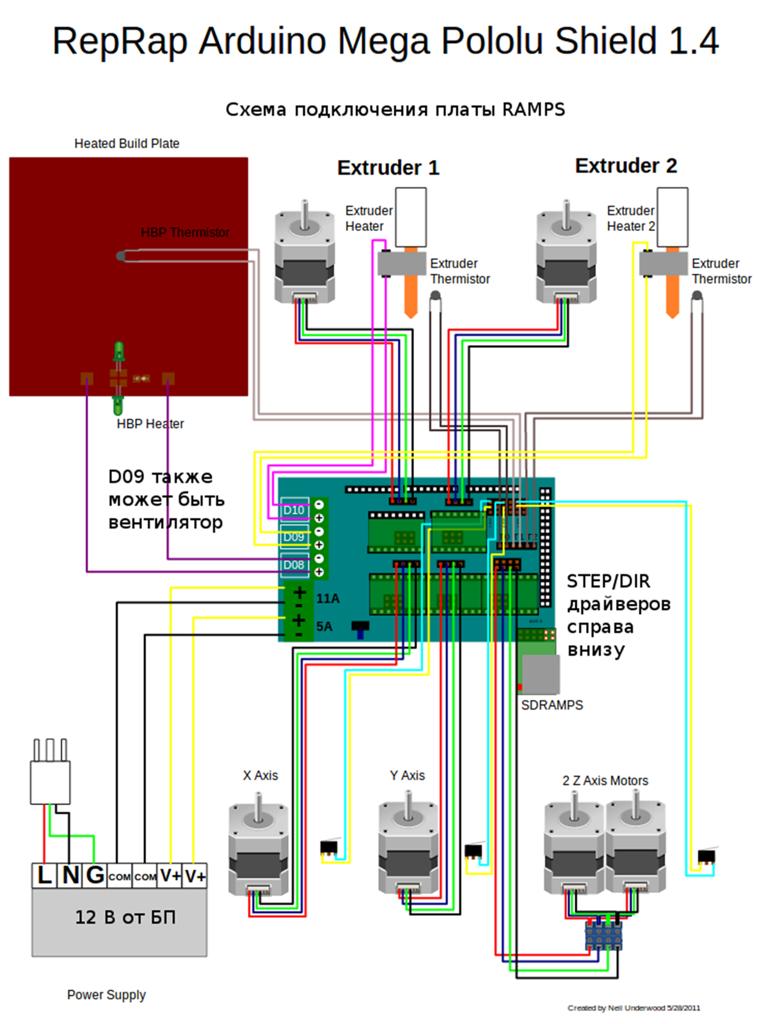 Схема подключения электроники