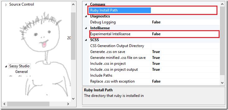 Секция настроек SassyStudio в параметрах Visual Studio