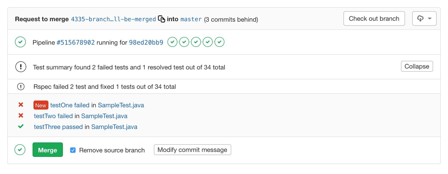 JUnit test summaries in merge request widget