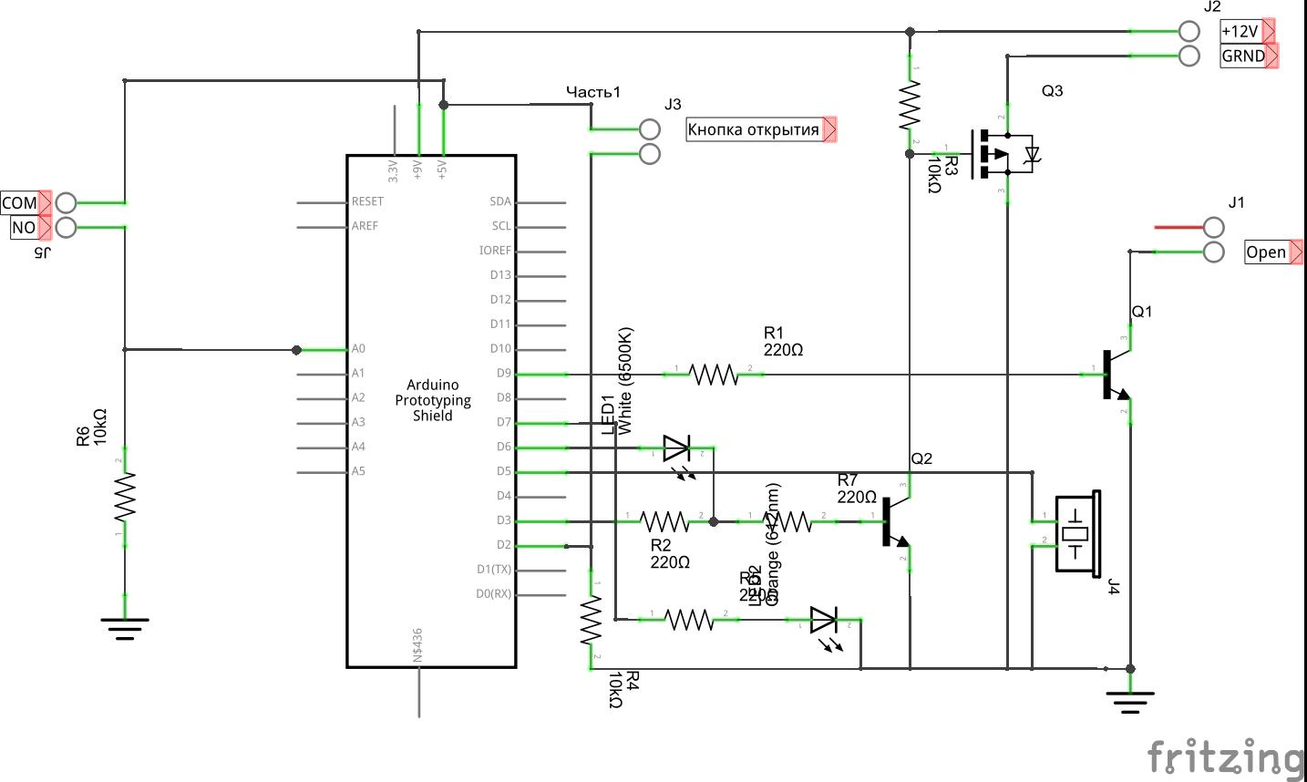 схема подключения кодового замка с контроллером