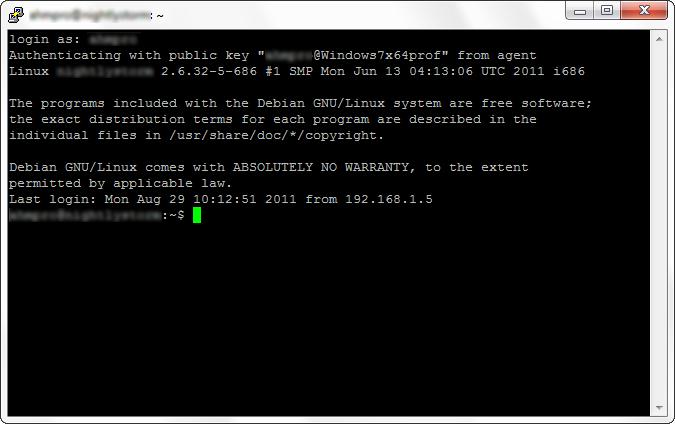 Успешное подключение по ssh