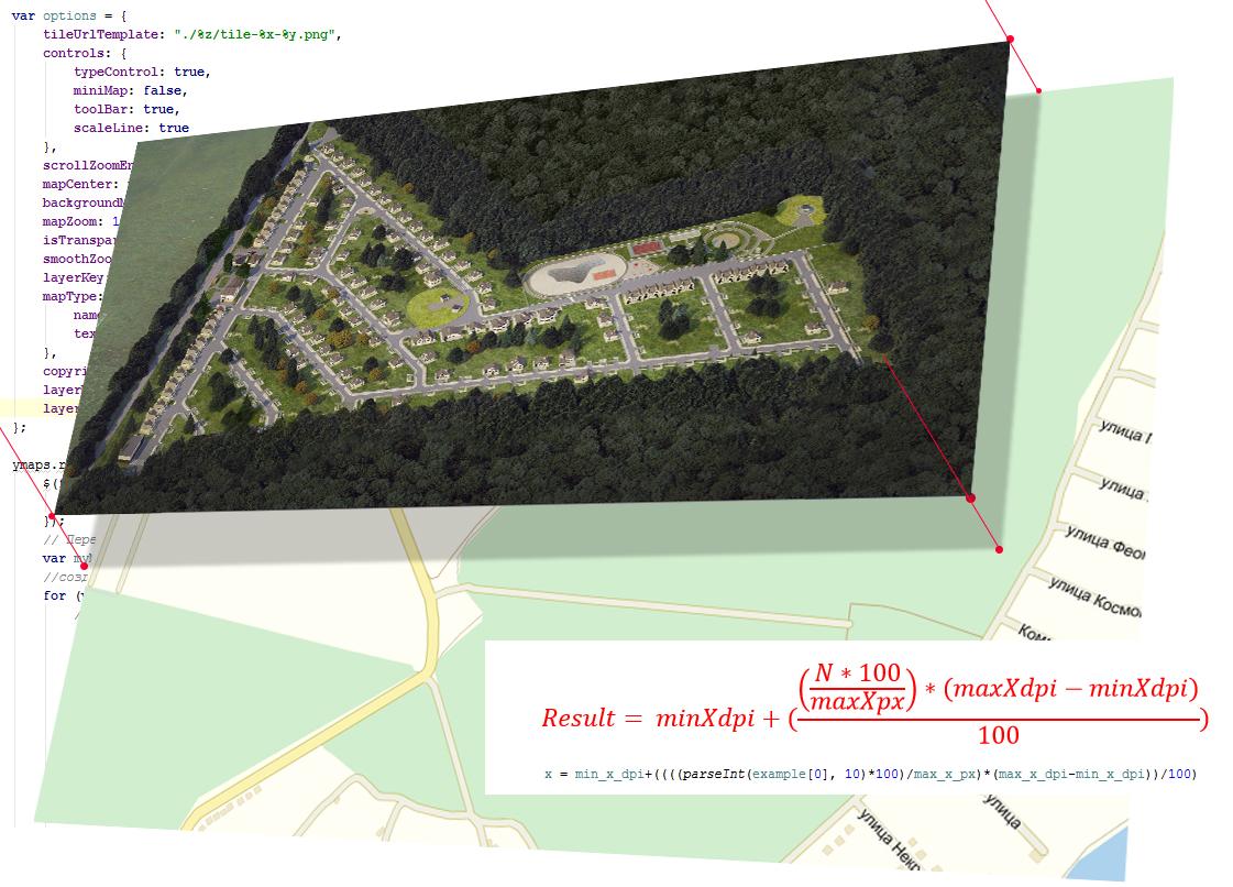 Генплан посёлка на основе Яндекс api v2 или как соотнести координаты картинки и карты