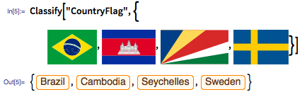 "In[5]:= Classify[""CountryFlag"", {images:flags}]"