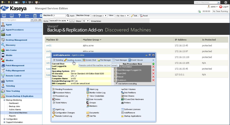 Рис. 6 Используйте Discovered Machines view для мониторинга статуса защиты управляемых ВМ