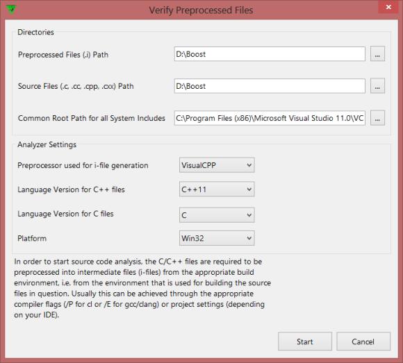 Рисунок 1 – Диалог запуска проверки препроцессированных файлов.