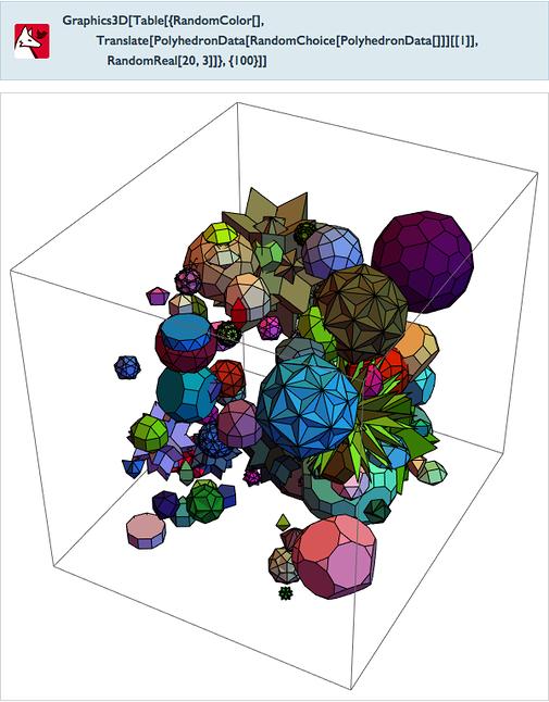 Graphics3D[Table[{RandomColor[],Translate[PolyhedronData[RandomChoice[PolyhedronData[]]][[1]],RandomReal[20,3]]},{100}]]