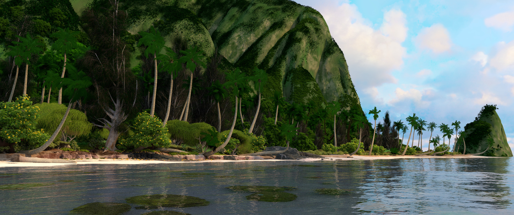 "Optimize the rendering of the scene from the Disney cartoon ""Moana"". Part 1"