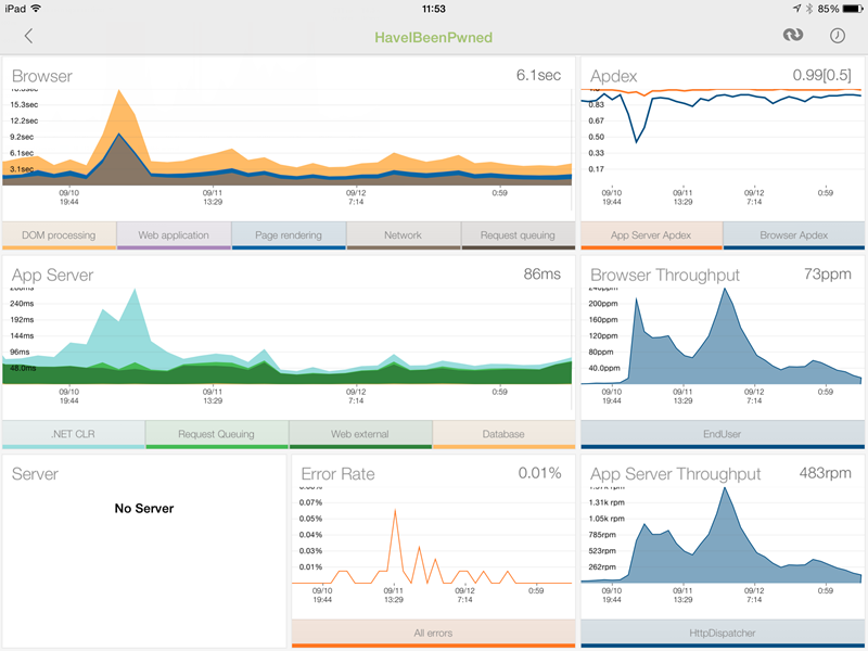 NewRelic dashboard on the iPad