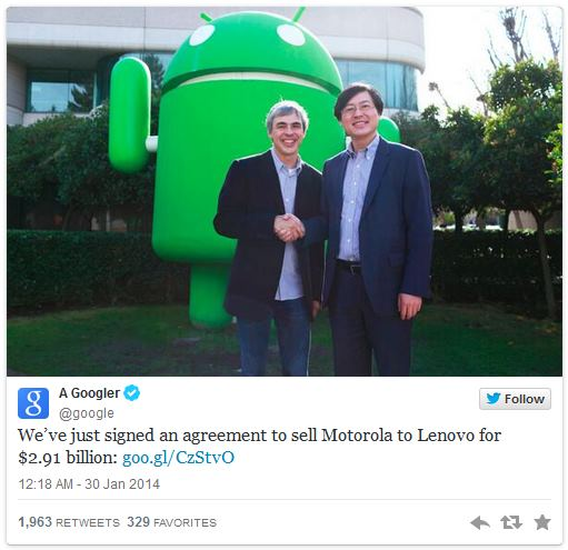 Google продает Motorola Mobility компании Lenovo