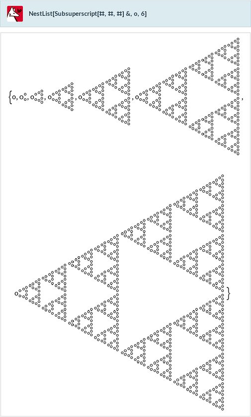 NestList[Subsuperscript[#,#,#]&,o,6]