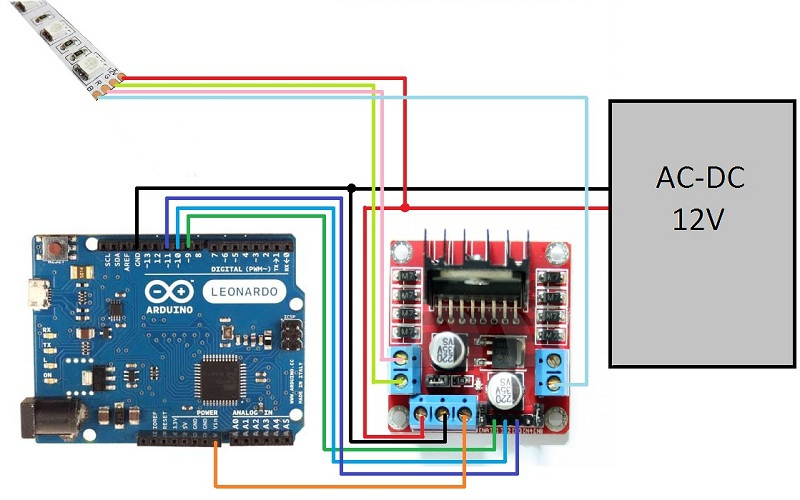 management of rgb tape by means of arduino and the l298n