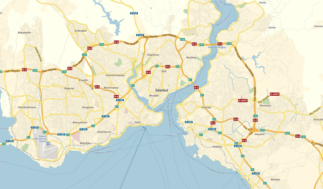 Map of Istanbul, drawn according to the rule of styles of the three highways
