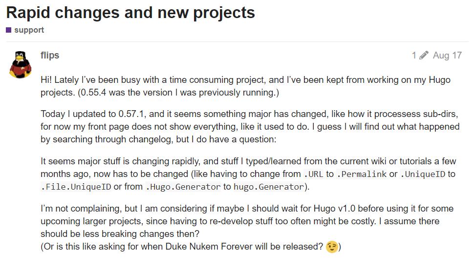 вопроса с официального форума Hugo