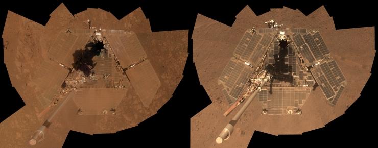 С марсохода Opportunity сдуло пыль марсианским «ветром»