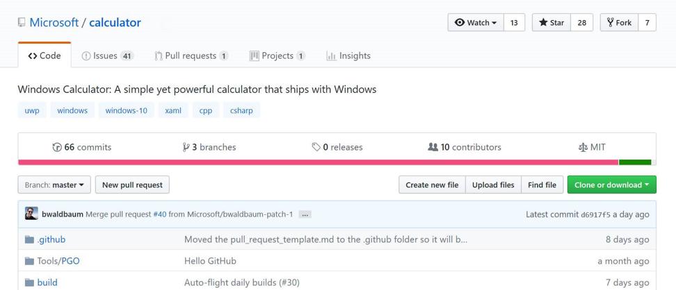 GitHub documentation of Windows Calculator