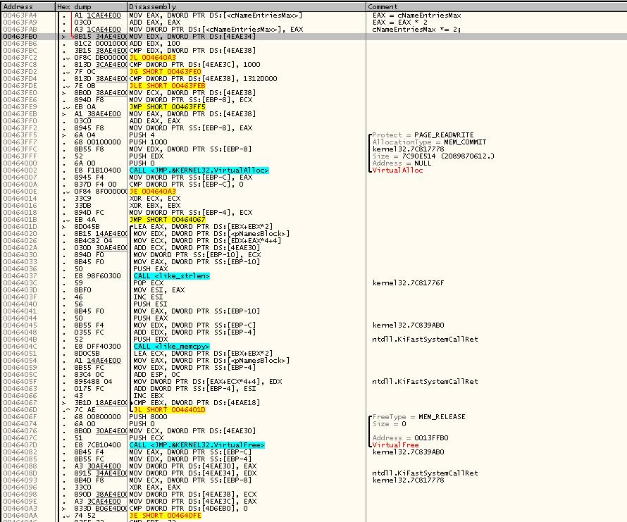 Продолжение кода Insertname()